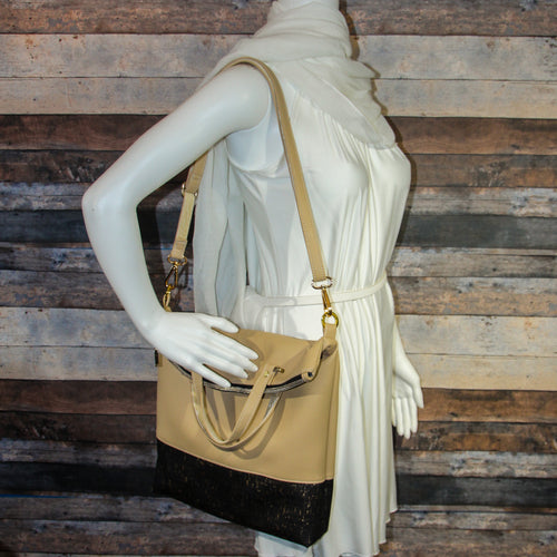 Flip Tote Bag - yellow, black, gold, cork, vegan leather, handmade, handcrafted