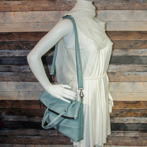 Flip Tote Bag - blue, light blue, vegan leather, handmade, handcrafted