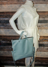 Load image into Gallery viewer, Flip Tote Bag - blue, light blue, vegan leather, handmade, handcrafted