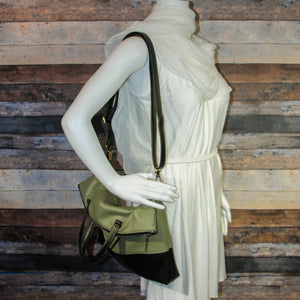 Flip Tote Bag - green, two-toned, avocado green, dragon green, shimmery, vegan leather, handmade, handcrafted