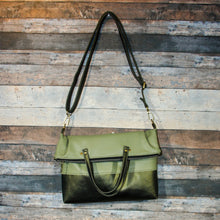 Load image into Gallery viewer, Flip Tote Bag - green, two-toned, avocado green, dragon green, shimmery, vegan leather, handmade, handcrafted