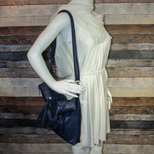 Load image into Gallery viewer, Flip Tote Bag - blue, navy blue, vegan leather, handmade, handcrafted