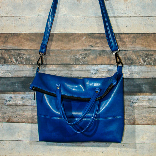 Flip Tote Bag - blue, azure blue, sapphire blue, vegan leather, handmade, handcrafted