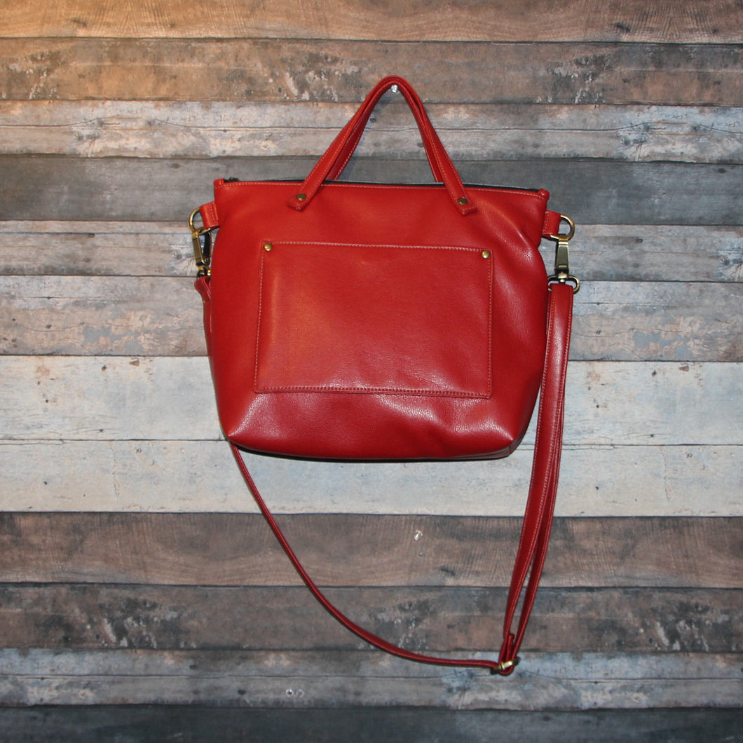 MIDI Day Bag - red, soft, vegan leather, handcrafted, handmade