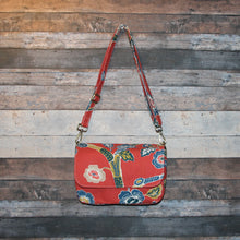 Load image into Gallery viewer, Canvas Messenger - red, orange, persimmon, floral, handcrafted, handmade