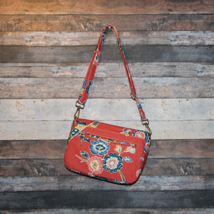 Canvas Messenger - red, orange, persimmon, floral, handcrafted, handmade