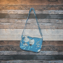 Load image into Gallery viewer, Canvas Messenger - blue, white, grey, floral, handcrafted, handmade