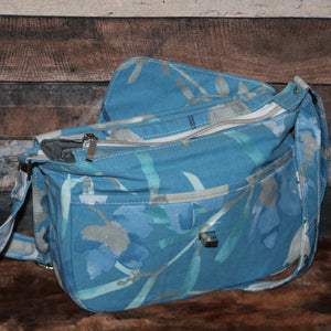 Canvas Messenger - blue, white, grey, floral, handcrafted, handmade
