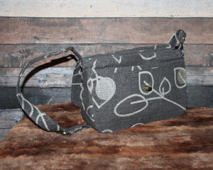 Canvas Messenger - grey, graphite, leaves, handcrafted, handmade