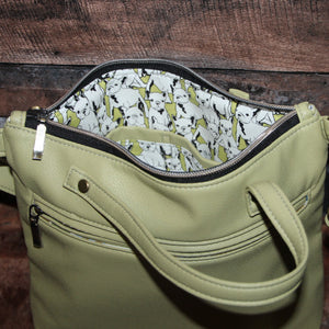 MINI Day Bag - green, celery green, soft, vegan leather, handcrafted, handmade