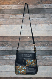 CIARA Crossbody - navy blue, cork, soft, vegan leather, handcrafted, handmade