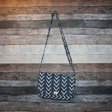 Canvas Messenger - indigo blue, handcrafted, handmade