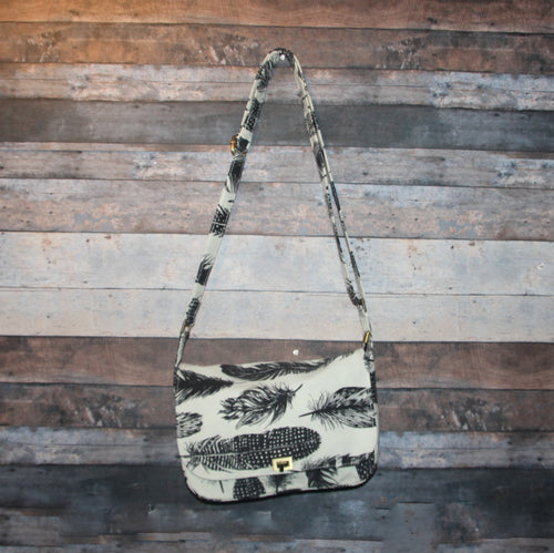 Canvas Messenger - cream, black, feathers, handcrafted, handmade