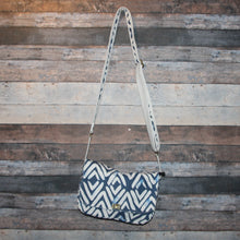 Load image into Gallery viewer, Canvas Messenger - ikat, navy blue, cream, handcrafted, handmade