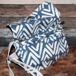 Canvas Messenger - ikat, navy blue, cream, handcrafted, handmade