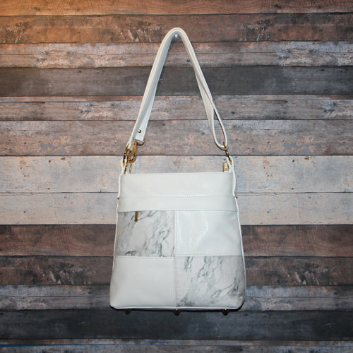 CIARA Crossbody - white, marble, soft, vegan leather, handcrafted, handmade