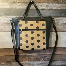 Load image into Gallery viewer, MIDI Day Bag - polka dots, black, natural, cork, vegan leather, handcrafted, handmade