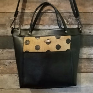 MIDI Day Bag - polka dots, black, natural, cork, vegan leather, handcrafted, handmade