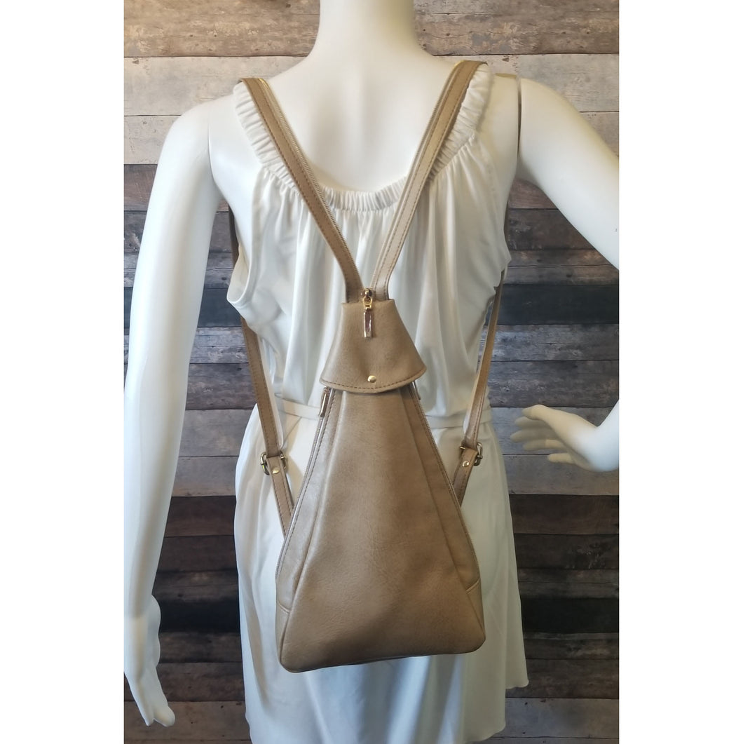 Sling Backpack - beige, cream, light brown, vinyl, faux leather, handcrafted, handmade