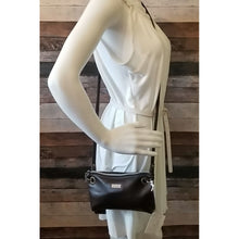 Load image into Gallery viewer, Clutch Crossbody - brown, medium brown, vinyl, faux leather, handcrafted, handmade