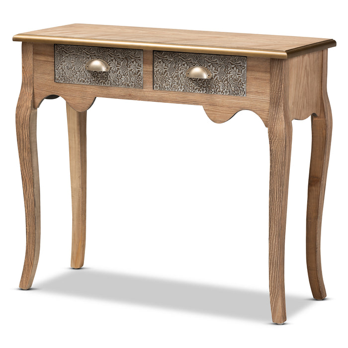 Clarice French Provincial 2-Drawer Wood and Metal Console Table