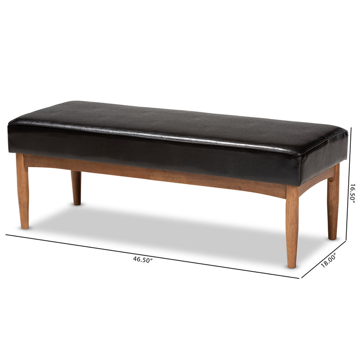 Arvid Mid-Century Leather Bench