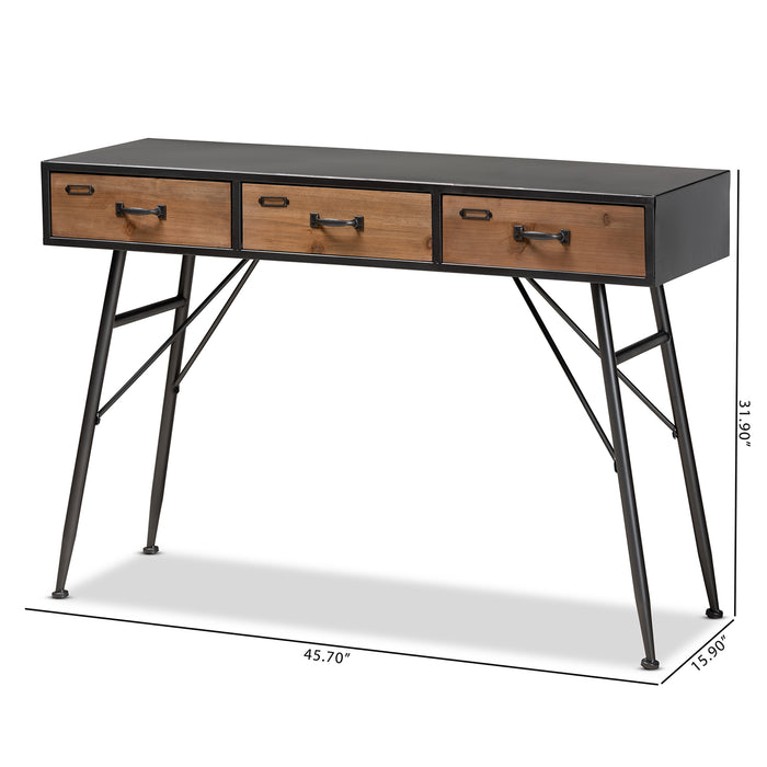 Ariana Industrial (3-Drawer) Wood Console Table