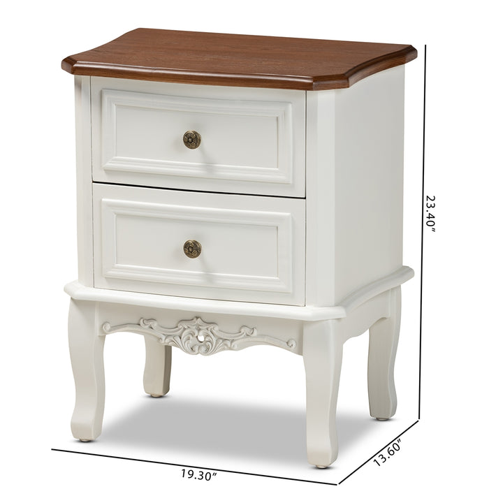 Darlene Traditional (2-Drawer) Wood Nightstand