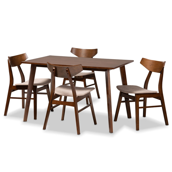 Lois Mid-Century Wood (5-Piece) Dining Set