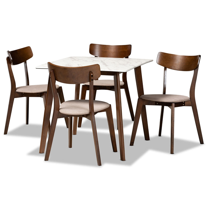 Reba Mid-Century (5-Piece) Wood Dining set
