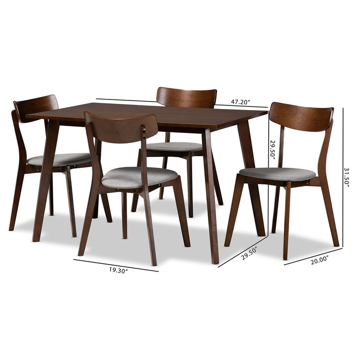 Nori Mid-Century Wood 5-Piece Dining Set
