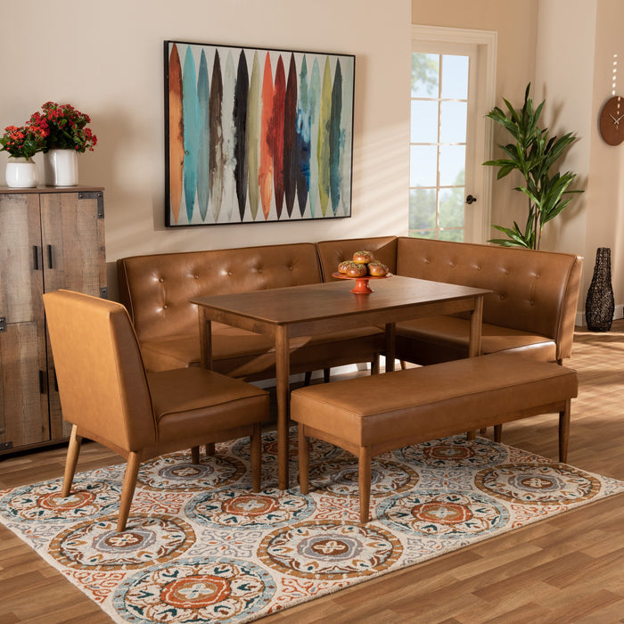 Arvid Mid-Century Leather 5-Piece Nook Set