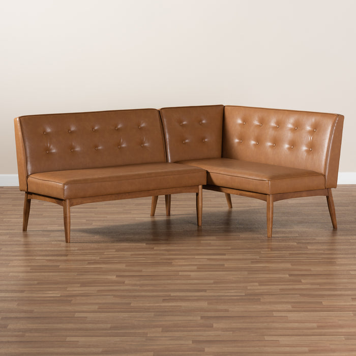 Arvid Mid-Century 2-Piece Leather Dining Banquette Set