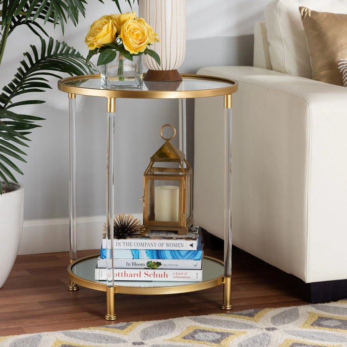 Aubrie Glamour Metal & Glass End Table