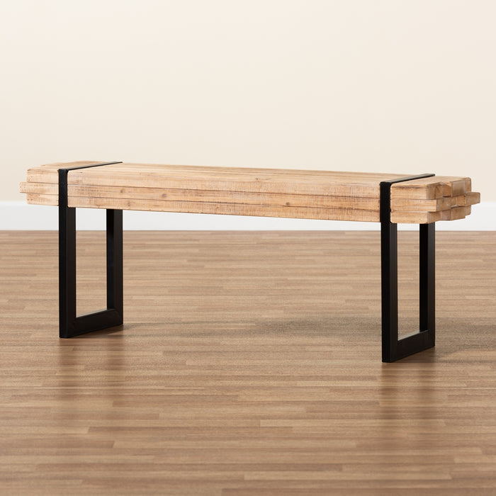 Henson Rustic Wood and Metal Bench