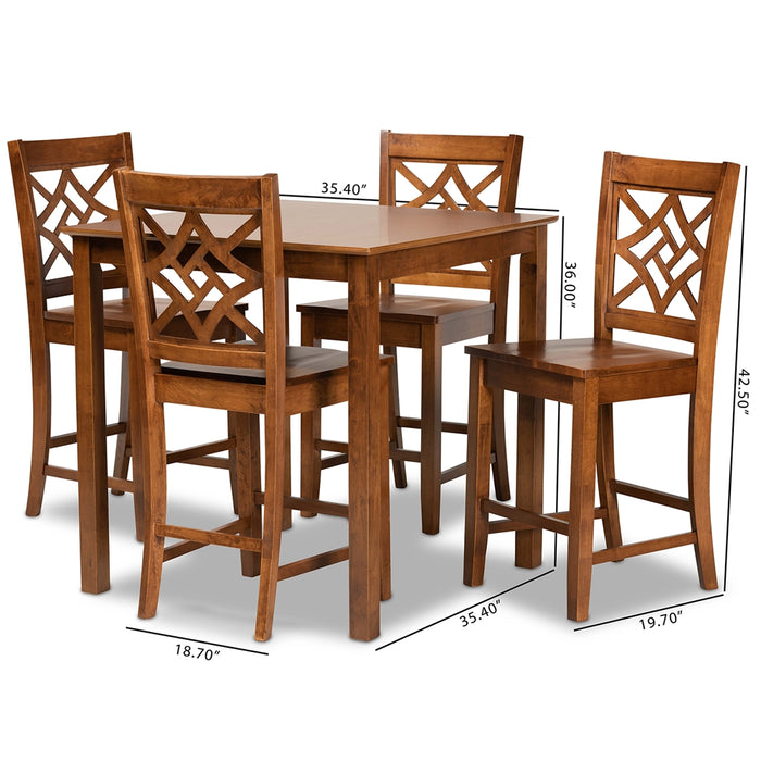 Nicolette Modern 5-Piece Wood Pub Set