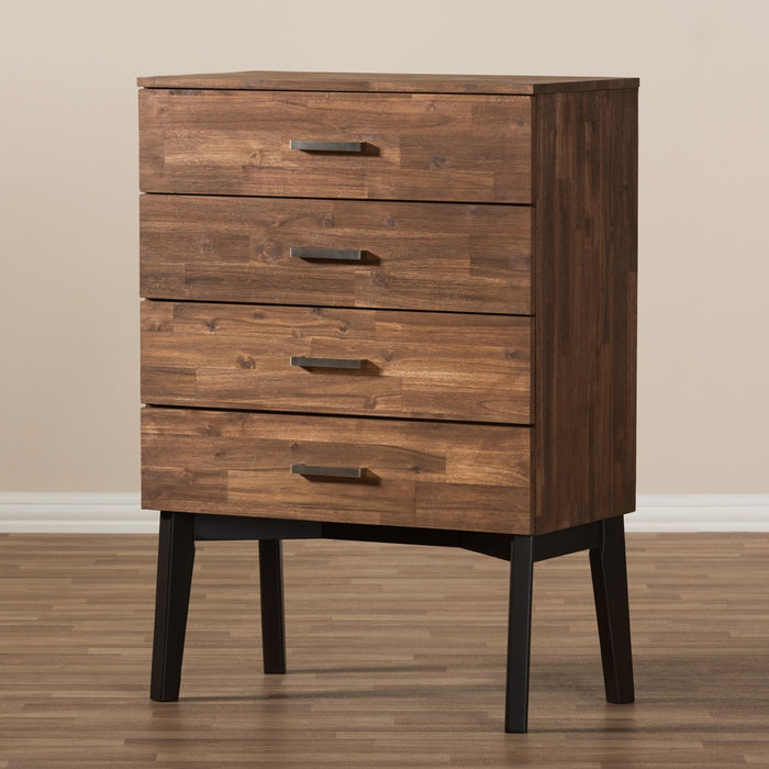 Selena Mid-Century (4-Drawers) Wood Dresser
