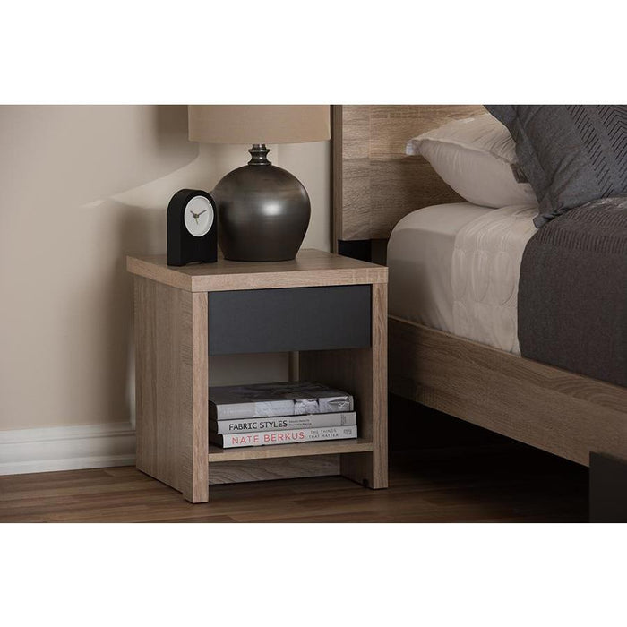 Jamie (1-Drawer 1-Shelf) Wood Nightstand