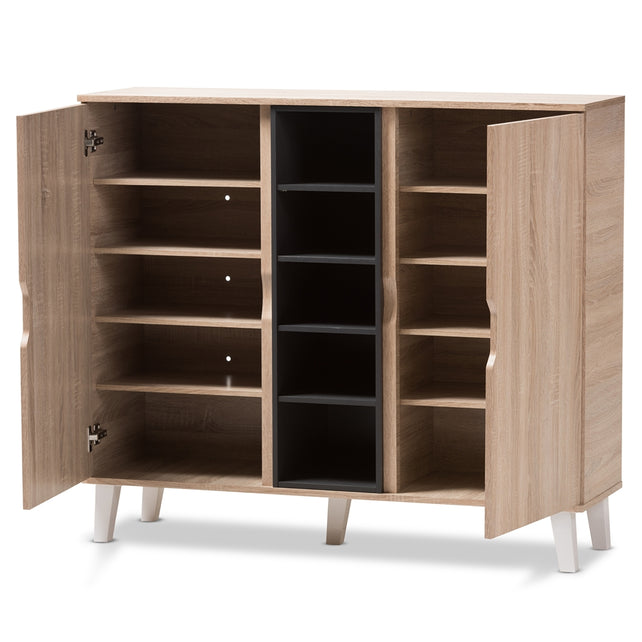 Adelina Mid-Century (2-Door) Wood Shoe Cabinet