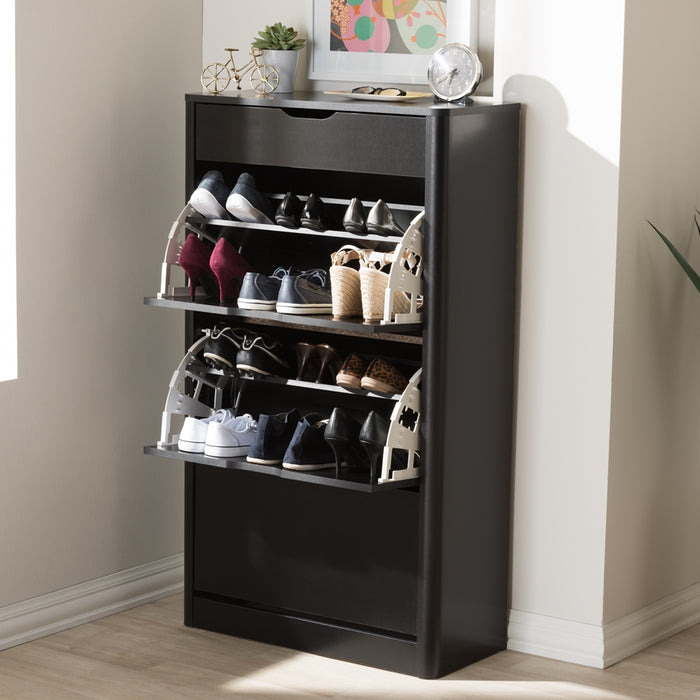 Cayla Contemporary Wood Shoe Cabinet
