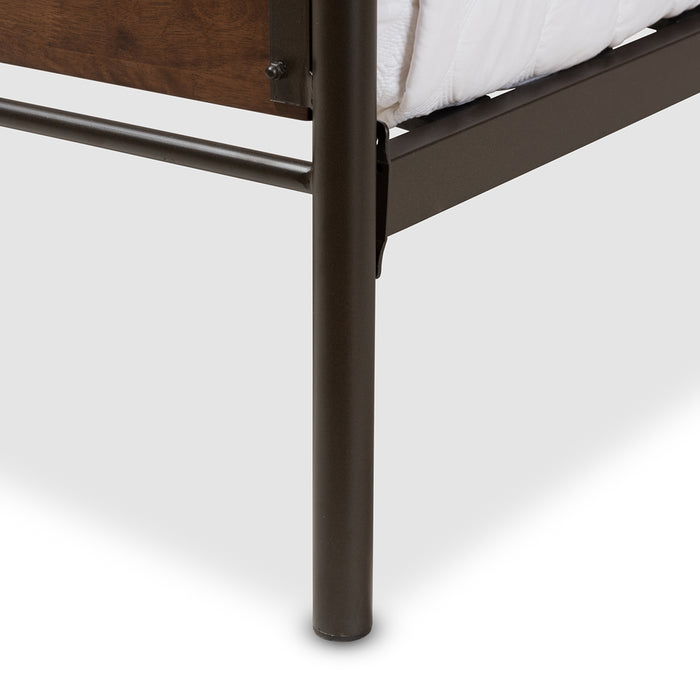 Monoco Industrial Wood Platform Bed