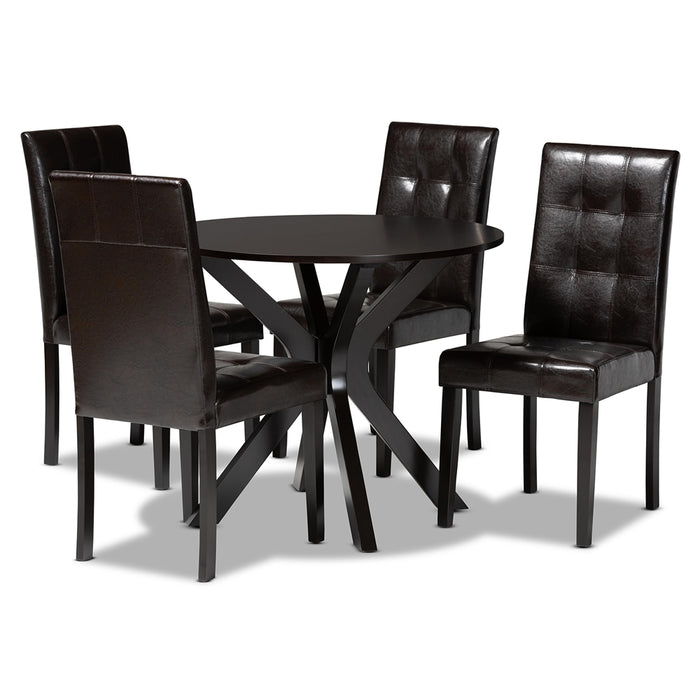 Marie Modern Leather 5-Piece Dining Set