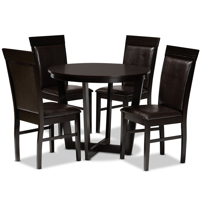 Irma Modern Leather (5-Piece) Dining Set