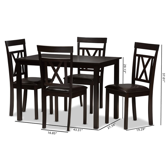 Rosie Contemporary Leather 5-Piece Dining Set