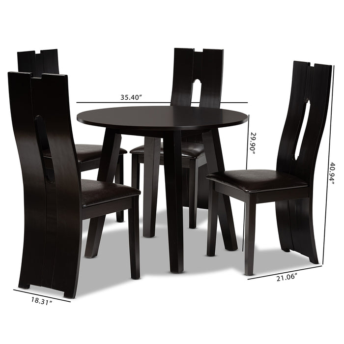 Torin Modern Leather 5-Piece Dining Set