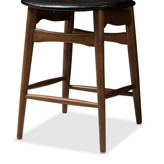Flora Mid-Century (Set of 2) Leather Counter Stools
