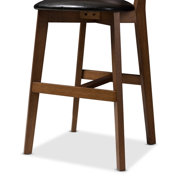 Eline Mid-Century Leather Counter Stools