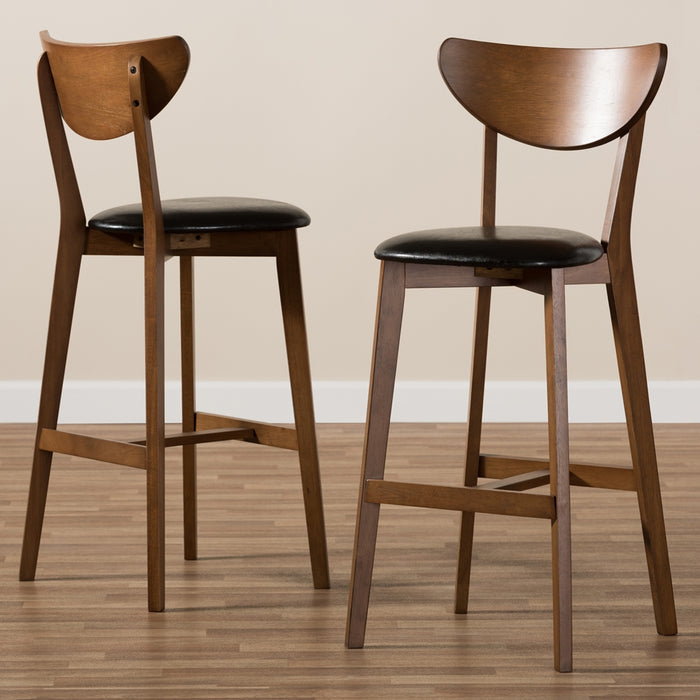 Eline Mid-Century Leather Bar Stools