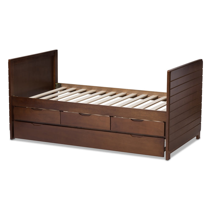 Linna Contemporary Wood Daybed With Trundle