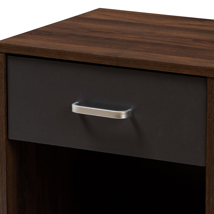 Hansel Contemporary (1-Drawer 1-Shelf) Wood Nightstand